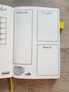 Monthly spread with hand drawn sections for to do list, projects, and goals, with hand drawn teacup and macarons Bullet Journal Index, December Bullet Journal, Bullet Journal Monthly Spread, Bullet Journal Layout, Bullet Journal Ideas Pages, Bullet Journals, Journal Fonts, Bullet Journal Printables, Journaling