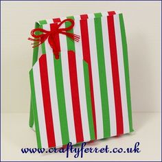 Free printable red and green striped mini Christmas favour or gift bag from www.craftyferret.co.uk