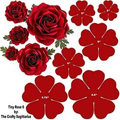 Hard Copy Template of 6 sizes Tiny Rose 6 availabl - Paper Flowers Ideas Paper Flower Patterns, Paper Flowers Craft, Large Paper Flowers, Paper Flower Wall, Paper Flower Tutorial, Flower Crafts, Diy Flowers, Fabric Flowers, Diy Paper Roses
