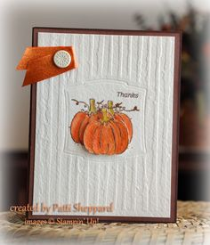 Perfect handmade thank you card for fall - stamp the pumpkins on the base card then cut one out and pop it up in front.  The dark chocolate colors and pop of color on the ribbon are just right with the creamy textured card front.