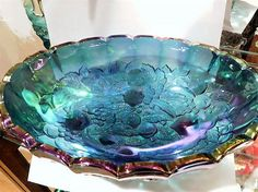 ITEM #RA-31  This is a mid century 1960s Indiana Glass blue iridescent Harvest aka Grape and Leaf large oval footed console bowl.  Base measures 12 by 8 1/2 and dish stands 4 1/2 tall.  Condition: Very good antique condition with typical wear due to age and handling. No chips, cracks etc. **** I have purchased an estate full of glassware, I have more of this pattern. If you are looking for something in particular just ask, I may have it and have not had time to list it yet.  To find...