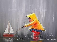 PETE RUMNEY FINE ART BUY ORIGINAL PAINTING CANVAS WALL PICTURE PUDDLE SAILING