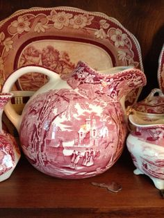 Pink Staffordshireware Milk jug!!! Bebe'!!! Love Pink Staffordshireware Historic View Dishes!!!