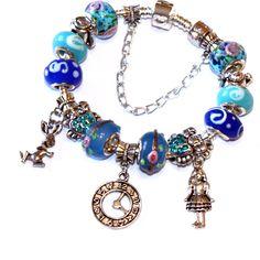 Alice in Wonderland Bracelet - For her, little girl, children, child, 3+, niece, teen jewerly, wonderland, gift idea, birthday present- Blue by OnlyBiju on Etsy