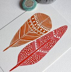 Nature Watercolor Painting - Feather Print - Archival Print - Cleo Feathers