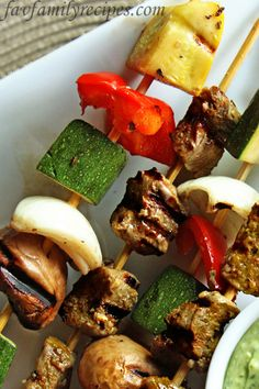 Grilled Veggie Skewers from favfamilyrecipes.com #skewers #grilling #recipes