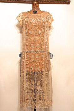 1920's Flapper Wedding Dress Tambour Lace Embroidery. Materials: Hand Made Bobbin Lace, Tambour Lace Embroidery. Back