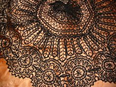Antique beautiful silk bobbin lace parasol cover