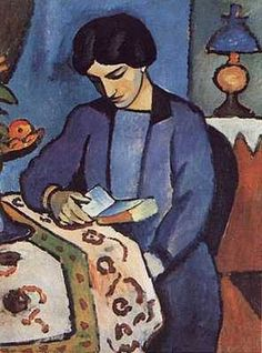 """cydoniasan:    Blue Girl Reading, August Macke 1887-1914,Germanpainter who was a leader ofDer Blaue Reiter(""""The Blue Rider""""), an influential group ofExpressionistartists."""