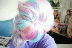 Pastel hair, pink color, purple color, blue color hair dye