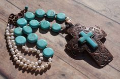 Navajo Copper Cross Turquoise Knotted Pearl by fleurdesignz