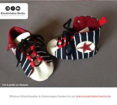 Baby-Schnürschuhe, zum Schnittmuster: http://www.kreativlaborberlin.de/naehanleitungen-schnittmuster/suesse-babyschuhe-mit-schnuersenkeln/