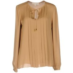 Michael Michael Kors Blouse (260 CAD) ❤ liked on Polyvore featuring tops, blouses, brown, brown silk blouse, beige long sleeve blouse, silk blouse, beige silk top and long sleeve blouse