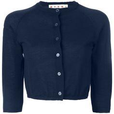 Marni cropped cardigan ($825) ❤ liked on Polyvore featuring tops, cardigans, blue, marni cardigan, cropped cardigan, blue crop top, 3/4 sleeve cardigan and cashmere cardigan