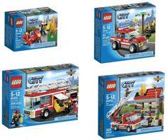 LEGO City Fire Motorcycle 60000 + Fire Chief Car 60001 + Fire Truck 60002 + Fire Emergency 60003