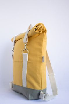Roll-top yellow mustard backpack, city backpack, laptop backpack – About Handbags Diy Backpack, Canvas Backpack, Diy Accessoires, Laptop Rucksack, Top Backpacks, Unisex, Cotton Lights, Handmade Bags, Mustard Yellow