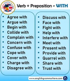 WITH and Examples - English Grammar Here English Grammar Notes, English Language Learning, English Phrases, Learn English Words, English Study, English Vocabulary, English English, Language Arts, English Writing Skills
