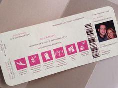 Save-the-Date Karte - Boarding-Pass von Kreative Papeterie für Hochzeit, Geburt und Geburtstag! auf DaWanda.com