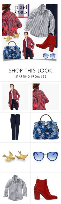 """""""Check out the checks!"""" by interesting-times ❤ liked on Polyvore featuring J.Crew, Carven, Fendi, Elie Tahari, GANT and plaidcoats"""