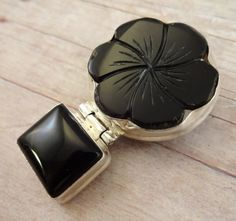 Black Onyx and Sterling Silver Pendant Flower by StoneWingSupplies, $40.00