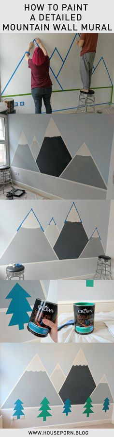 A detailed step-by-step how to paint a mountain wall mural for a kid's bedroom, with information on what tools and paints to use and exactly how to create it!