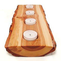 Half Log Wood Candle Holder