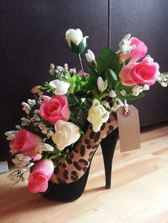 Artificial Flower Arrangement display shoe, handmade, A SPECIAL Mothers Day, easter gift, wedding or home ornament