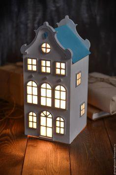 Освещение ручной работы. Голландский светильник- домик с бирюзовой крышей. Ночник. Light House.. Интернет-магазин Ярмарка Мастеров. домики