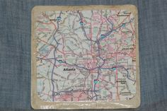 Atlanta, Georgia- Vintage Map Ceramic Coaster