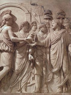 Relief depicting the Roman Emperor Hadrian entering the city (adventus) welcomed by the Genius of the Senate, the Genius of the People of Rome and the goddess Roma, Musei Capitolini, Rome