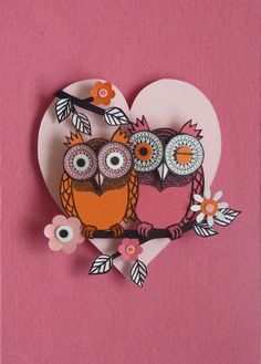 Owl in love paper cuts