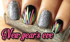 ~NEW YEARS EVE~ SILVER GLITTER NAIL POLISH & BLACK NAIL POLISH W/YELLOW, TEAL, & PINK LINES! THE LAST NAIL DESIGN OF 2013!