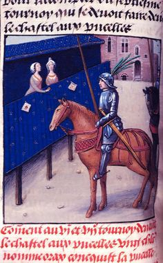 Knight and lady London, BL, Royal 19 E II Revised by David Aubert, Perceforest (Anciennes croniques Dangleterre, faictz et gestes du roy Perceforest, et des chevaliers du Franc Palais), imperfect Netherlands, S. (Bruges); Last decade of the 15th century