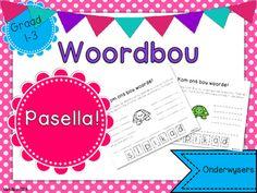 Afrikaans Woordbou Pasella! Afrikaans, Kids Education, Child Development, Spelling, Classroom Ideas, Language, Teaching, Math, School