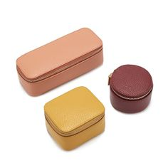 Practice the art of tidying up with beautifully crafted Italian leather cases that spark joy whether at home or on-the-go. Perfectly tucked inside our Jewelry Case, the Cuyana x Marie Kondo set includes: a mini-square box, a mini-circle box, and a mini-lo Pebbled Leather, Leather Case, Small Case, Leather Cleaning, Jewelry Case, Jewelry Box, Crochet Patterns For Beginners, Easter Crafts For Kids, Craft Stick Crafts