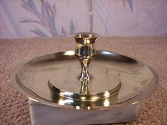 Vintage Large Tray Brass Candlestick Holder by ECCENTRICRON