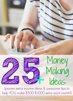 25+ Proven Money Making Ideas - Making money doesn't have to be a mystery. Here are over a dozen awesome money making tips (some online ideas, some offline jobs) so you can earn extra cash for your family, save for a vacation, pay for Christmas, etc! Some of the ideas can be turned into side jobs that make you an extra $500-$1000 per month!