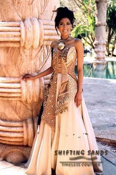 Taylor - Shifting Sands Traditional African textured bodice and silk skirt with shell beading Latest African Fashion Dresses, African Print Fashion, Africa Fashion, African Prints, African Wedding Dress, African Dress, African Clothes, African Style, Traditional Wedding Attire