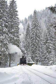 Touristic steam train, Maramures, Romania www. Beautiful Places To Visit, Places To See, Train Pictures, Snowy Pictures, Mountain Pictures, Visit Romania, Romania Travel, Le Far West, Winter Scenes