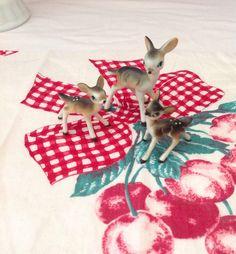 Vintage porcelain set of 3 tiny deer figurines, vintage porcelain, vintage deer…