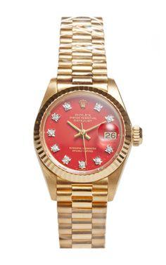 18K Yellow Gold Ladies' Rolex Datejust With Orange Stella On President Bracelet by Fourtané Rolex for Preorder on Moda Operandi