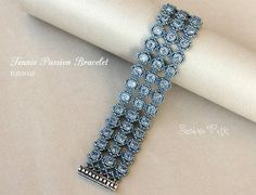 Swarovski Chatons and Seed Beads Bracelet  Tennis Passion
