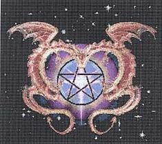 Dragon Love Cross Stitch Pattern - A pair of coppery dragons twist and twine about a pentacle glowing with magical energy. Design measures 197 by 177 stitches. Pattern is 6 pages, comb-bound.