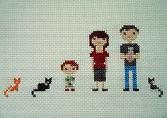 animal-friendly eating: family portrait cross-stitch - has link to free printable cross stitch grid paper