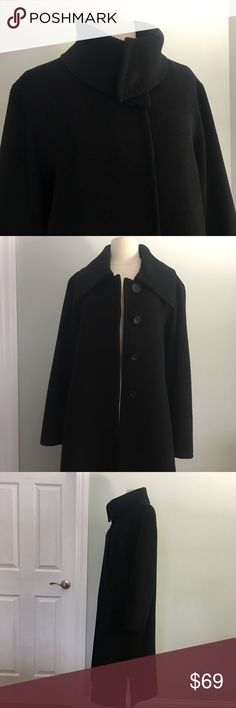 "Cinzia Rocca impeccable tailored pure Wool Caot Size 10 . Swing style black coat with stitching details, Fits true to size . Cowl neck button closure . Sides slits for Comfort.   To side pockets .    Length 42""  Sleeves 24"" Bust 40"" Shoulder 18"" Excellent condition, no any flaws.Worn a few times, dry cleaned .  All prices are negotiable! Cinzia Rocca Jackets & Coats"