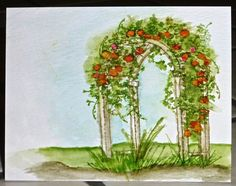 Art Impressions water color.  Ai Wonderful Watercolor.  Floral arbor arch handmade card. 		 		 		                                      Paper: Tim Holtz Water Color Paper