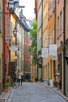 Gamla Stan, Stockholm, Sweden  place to walk around; go in shops, small cafes, and see the wonderful old architecture.