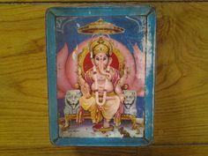 A fabulous large deep 1960's Ganesh storage tin. by Lallibhai, £15.00