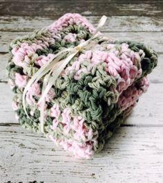 Cotton Kitchen Dish Cloths Pink Green Crochet Handmade Set of 3