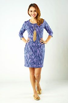 Danielle 3/4 Sleeve Shift Dress- Zebra: $142.00   This easy-to-wear shift dress is a staple in our collection. It is cut above the knee with flattering three-quarter length sleeves. To go from work to play a simple change to pumps will have you ready to hit the town.